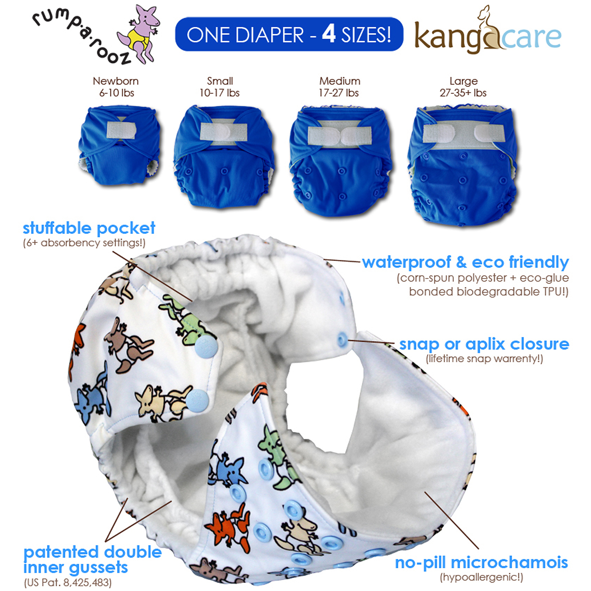 Kanga Care Rumparooz One Size Cloth Pocket Diaper, Charlie