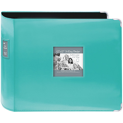 "Sewn Leatherette 3-Ring Binder 12""X12""-Bright Blue"