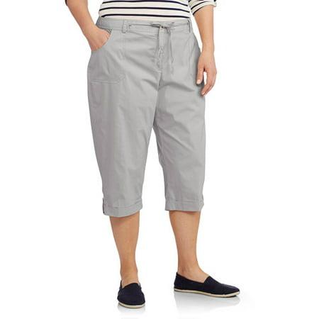 d97431ebb4 ONLINE - Women s Plus-size Cropped Capri Pants Wi - Walmart.com