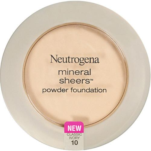 Neutrogena Mineral Sheers Powder Foundation, Classic Ivory [10], 0.34 oz (Pack of 4)