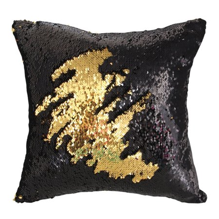 Tayyakoushi Black and Gold Mermaid Pillow Case with magic Not Pattern sequin Reversible Cushion Covers Sequins Dorm Room Decor for Sofa Comfy 16