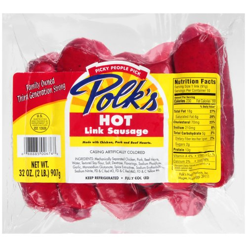 Polk's Hot Link Red Sausage, 32 oz