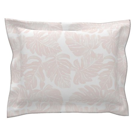 Blush Tropical Pink Monstera Leaves Plant Pastel Jungle Pillow Sham by Roostery ()