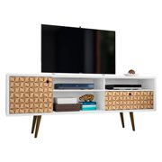 """Liberty 70.86"""" Mid Century - Modern TV Stand with 4 Shelving Spaces and 1 Drawer in White and 3D Brown Prints"""