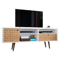 "Liberty 70.86"" Mid-Century - Modern TV Stand with 4 Shelving Spaces and 1 Drawer in White and 3D Brown Prints"