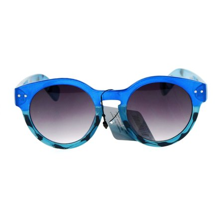 SA106 Color Turtle Shell Thick Plasic Keyhole Horn Rim Retro Sunglasses Blue (Blue Turtle Shell Mario)