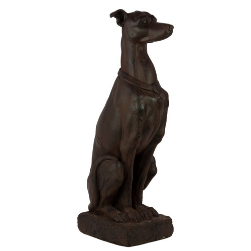 Urban Trends Fiberstone Sitting Manchester Terrier Dog with Button Ears Gray