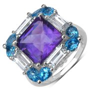 Malaika Sterling Silver 7 2/5ct Amethyst, Blue and White Topaz Ring Size-7, Purple