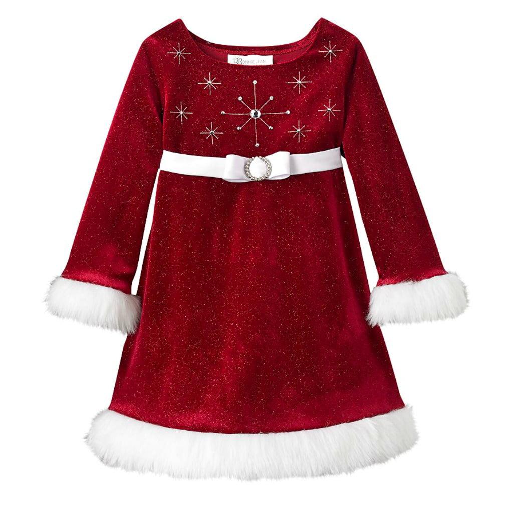 Bonnie Jean - Bonnie Jean Girls Beaded Santa Christmas Dress 3T - Walmart.com