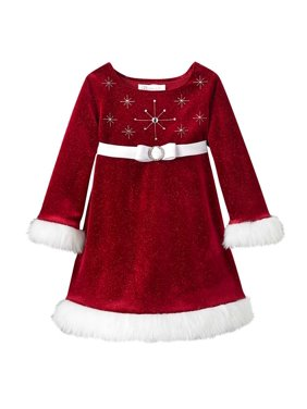 a8c1eab2601 Product Image Bonnie Jean Girls Beaded Santa Christmas Dress 2T