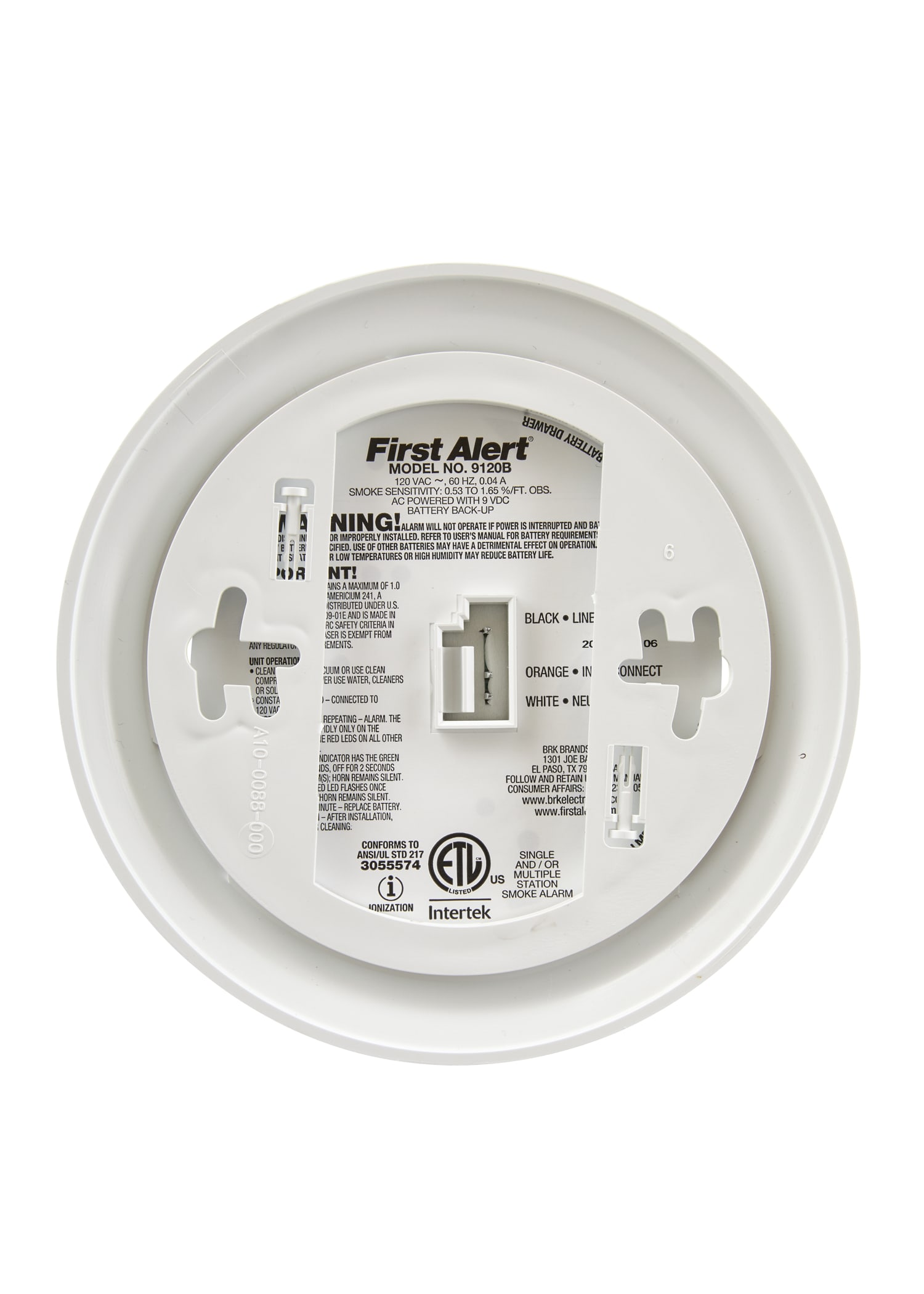 BRK 9120B6CP Hard-Wired Smoke Alarm with Battery Backup, 6 Pack