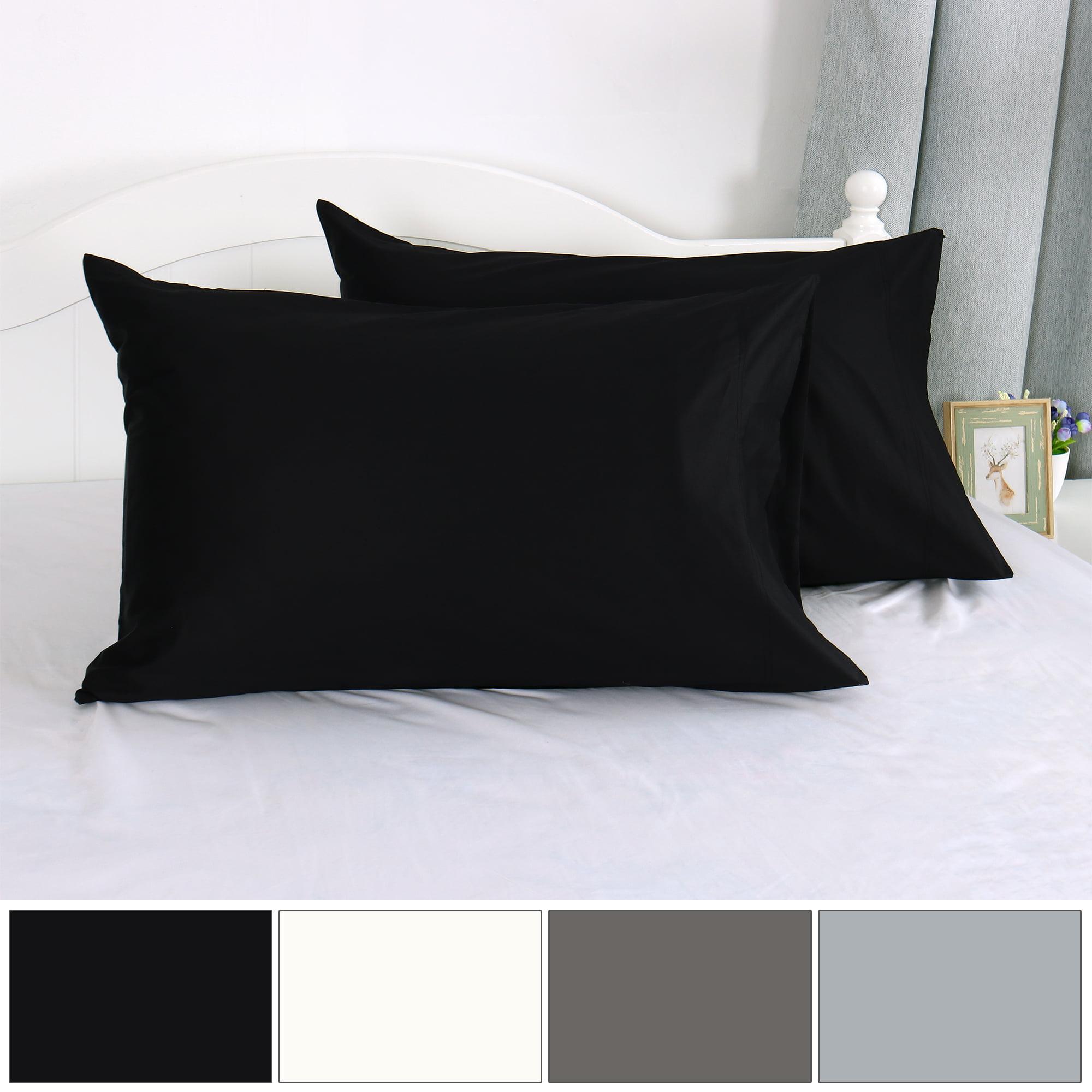 """Pillow Cases 100% Long Staple Combed Cotton 300 TC, Black 20"""" x 30"""", Set of 2 - image 7 de 7"""