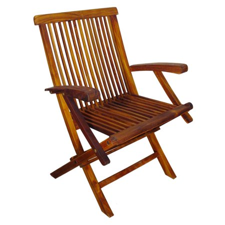 Terrace Mates Asian Hardwood Folding Chairs, Set of 2, Natural Oil Stain (Terrace Mates)