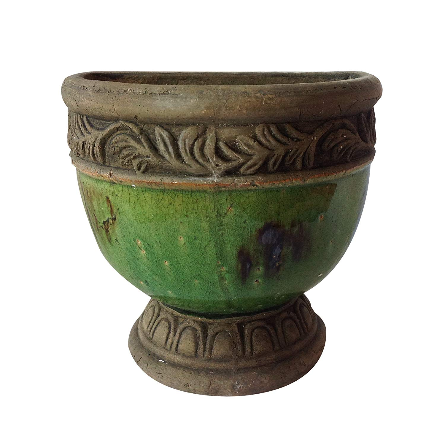 Old world hand-pressed terracotta glazed hanging pot 3 colors available, Green