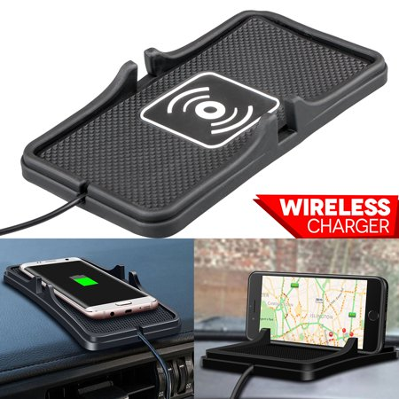 TSV Qi Fast Wireless Charger Car Holder Mount Non-Slip Pad Mat For Samsung S9 S8 iPhone XS (Pod Mount)