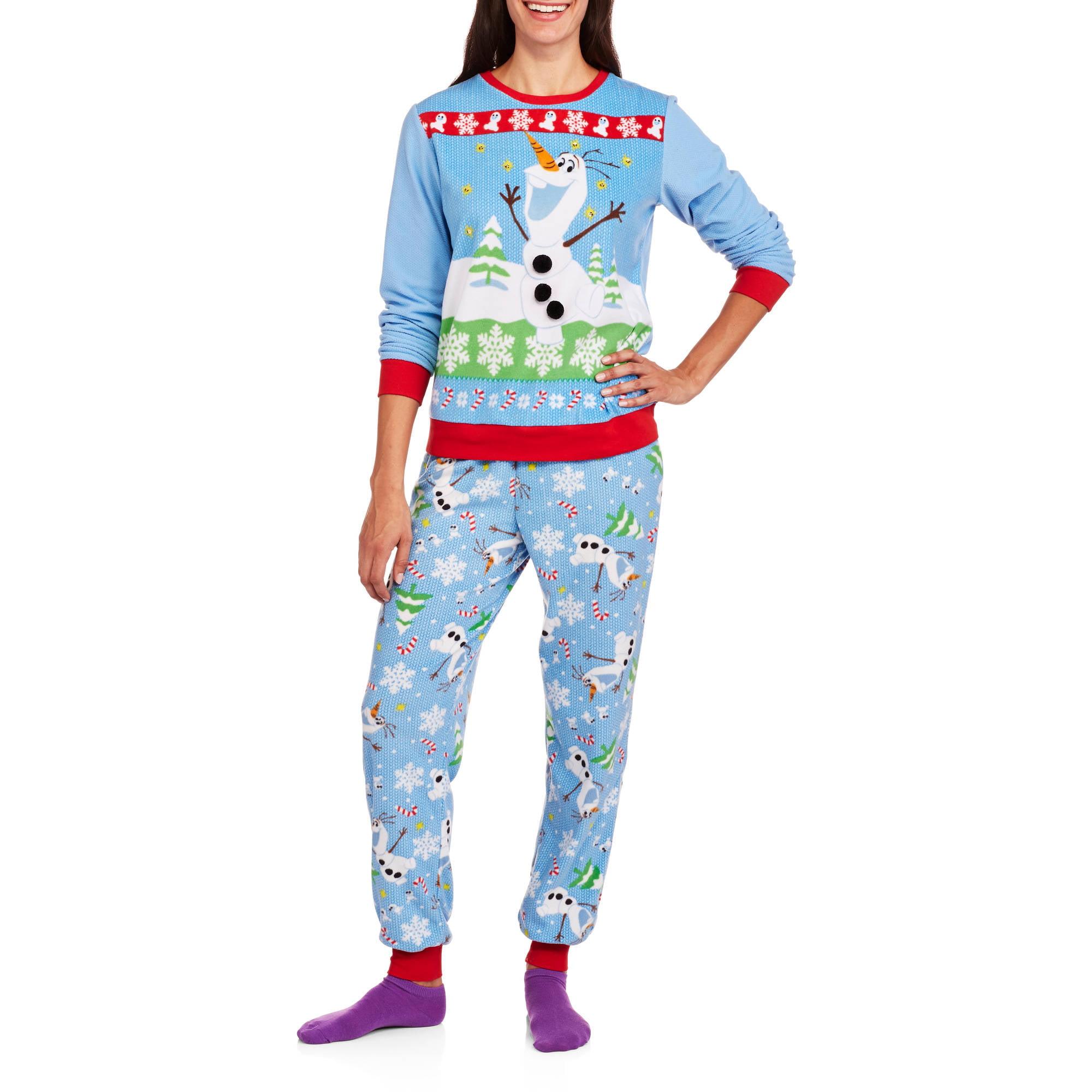 Olaf Women\'s License Pajama Ugly Sweater Fashion 2 Piece Sleepwear ...