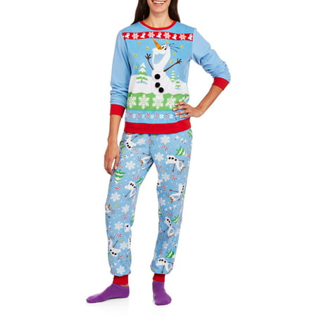 Olaf Women's License Pajama Ugly Sweater Fashion  2 Piece Sleepwear Set