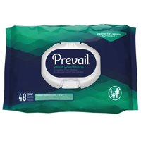 Prevail Adult Washcloths with Press-n-Pull lid, 8 X 12 Inch, 48 Count, 12 Pack