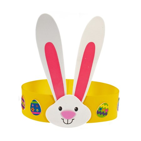 Diy Headband Kit (Craft County Foam Easter Bunny Ear Headband Kit - 12 Pack DIY Crown for Ages 3+ - Bright Spring Colors &)