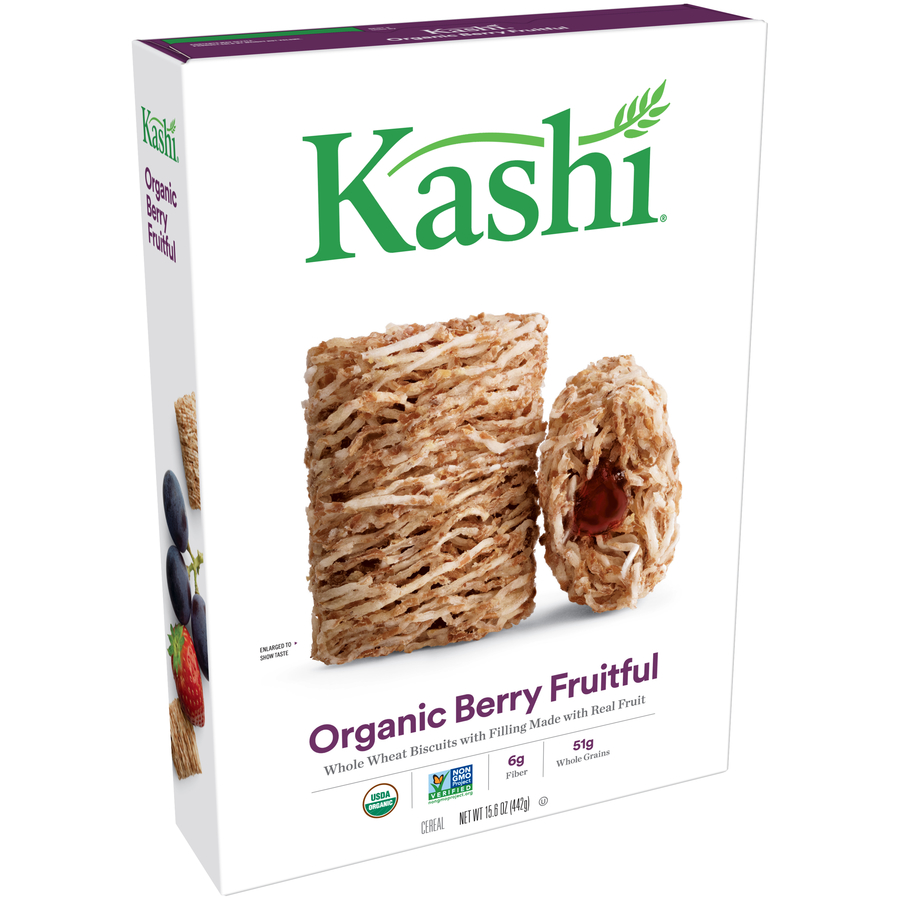 Kashi Organic Biscuits Breakfast Cereal, Berry Fruitful, 15.6 Oz