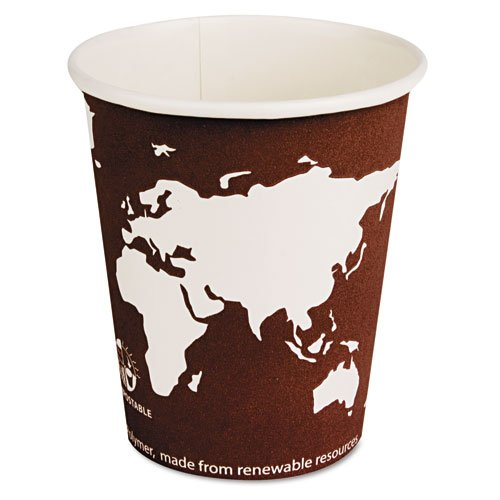 Eco-products World Art Hot Beverage Cups - 8 Oz - 1000/carton - Paper, Resin - Maroon (EPBHC8WA)