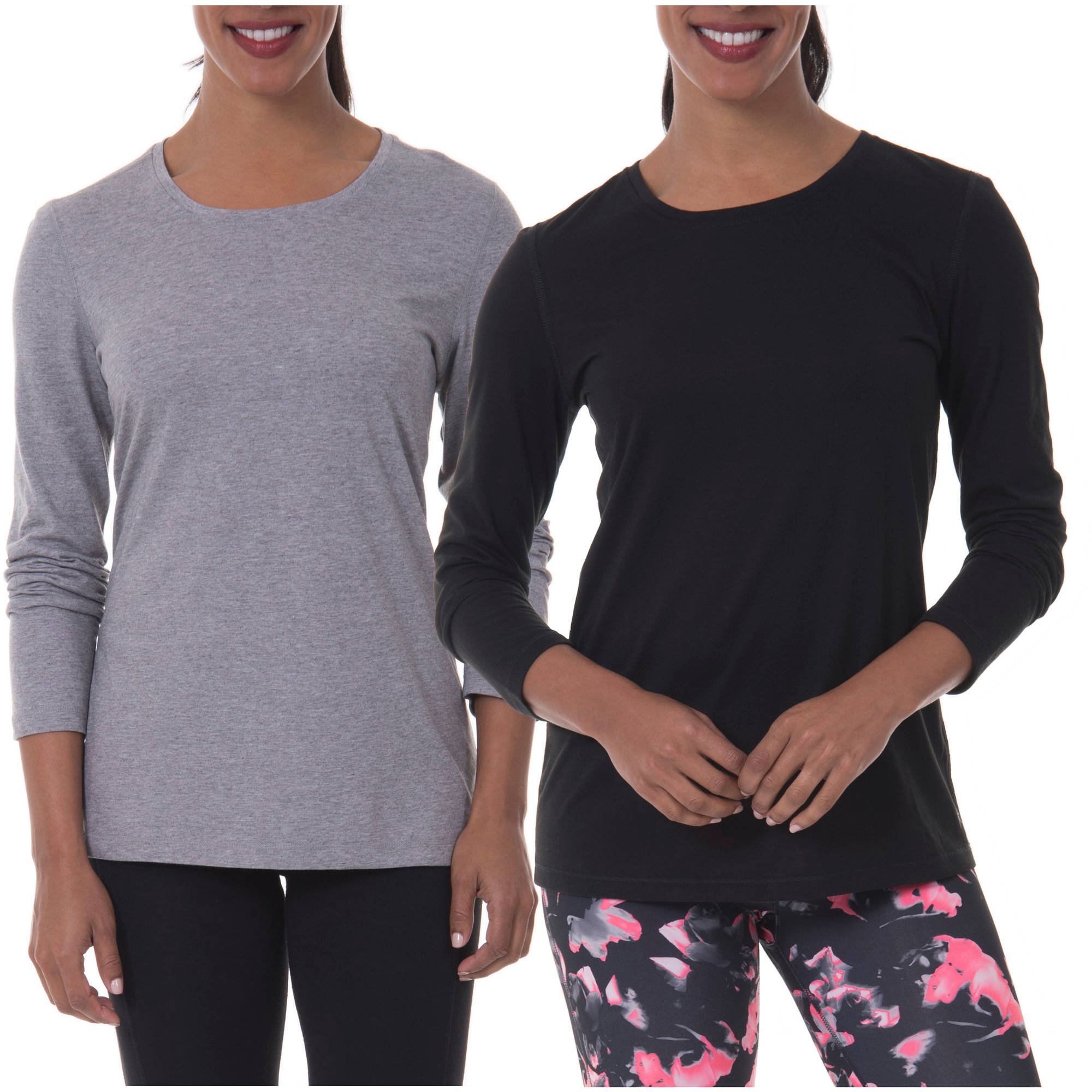 Danskin Now Women's Long-Sleeve Crew Neck Tee 2-Pack Value Bundle