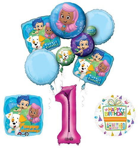 Bubble Guppies 1st Birthday Party Supplies and Balloon Bouquet Decorations