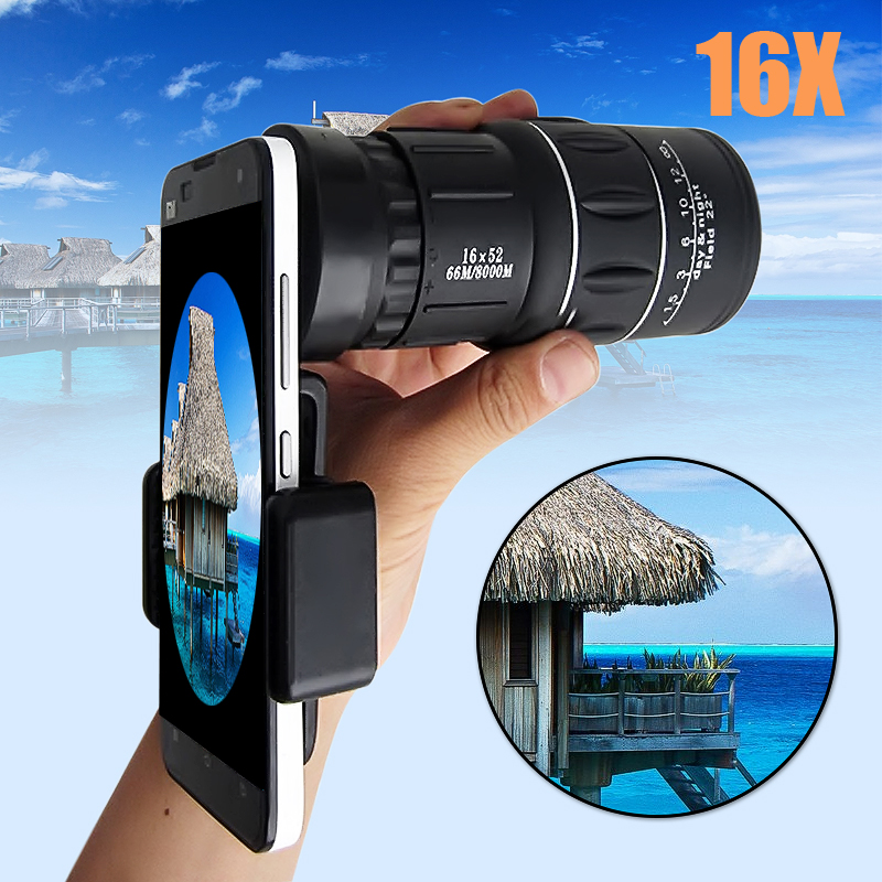 16x52 Camping Hiking Hunting Concert Phone Camera Lens Telescope Monocular with Phone Clip