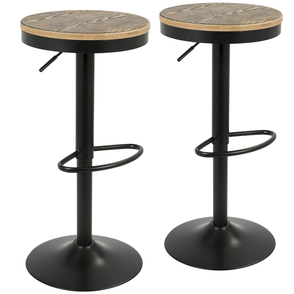 Dakota Industrial Adjustable Bar Stool with Swivel in Black by Lumisource-Set of 2 by