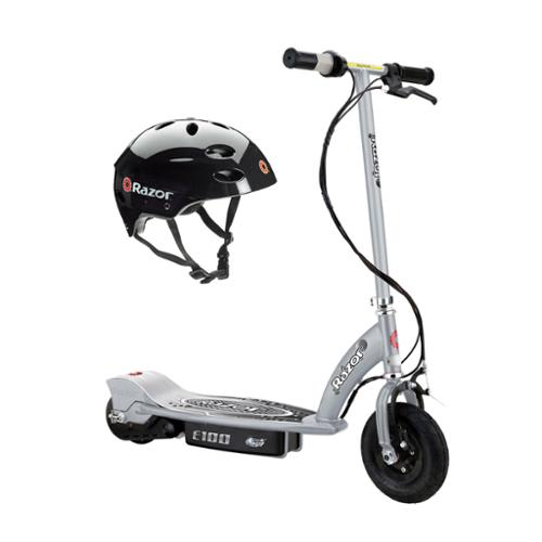 Razor E100 Motorized 24V Electric Scooter (Silver) & Youth Sport Helmet (Black)