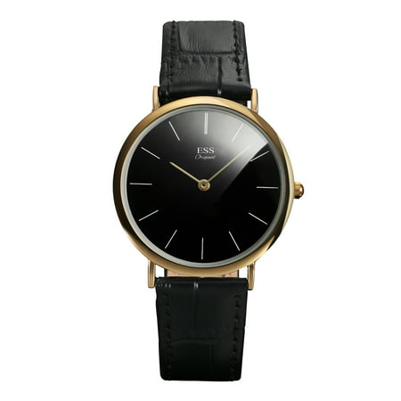 ESS Black Leather Quartz Wrist Watch Mens Minimal Simple Ultra Thin Gold