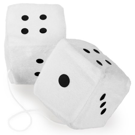 Pair of White 3in Hanging Fuzzy Dice
