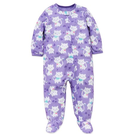 f9efb21f6 Little Me - Little Me Baby Girls Kitty Soft Zipper Footie Pajamas ...