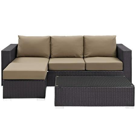 Modway Convene 3 Piece Outdoor Patio Sofa Set, Multiple (Coach Turquoise Glasses)