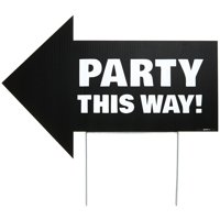 Party This Way Yard Sign, Black