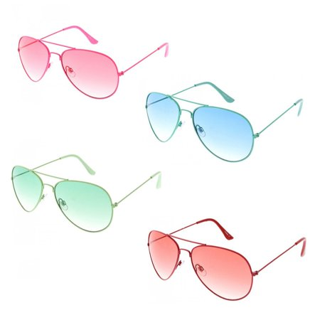 Women's Bang Colorful Tonal Retro Aviator Sunglasses - Bubble Gum (Sunglasses With Bangs)