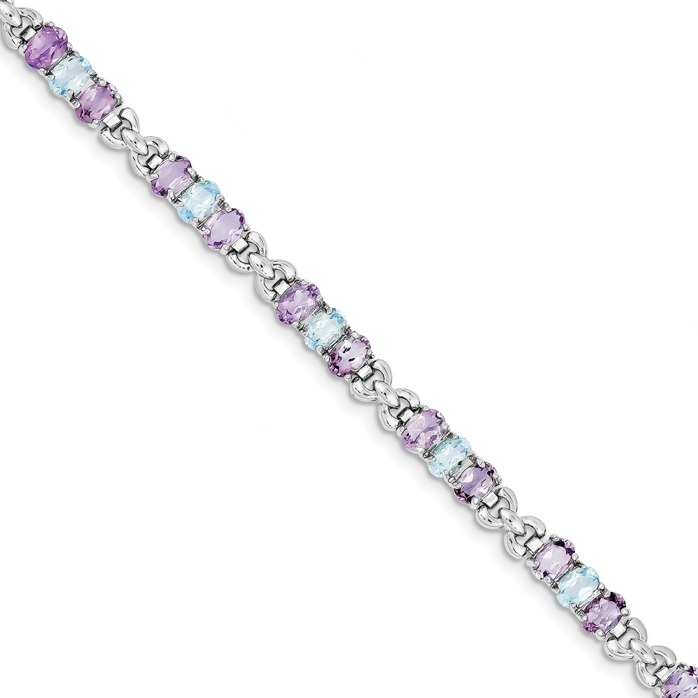 925 Sterling Silver Rhodium-plated Amethyst and Blue Topaz Bracelet by Diamond2Deal