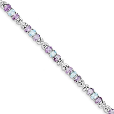 925 Sterling Silver Rhodium plated Amethyst and Blue Topaz Bracelet