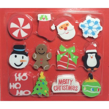 Holiday Eraser Set 12 Pc. Party Favors Santa Snowman More By Christmas House