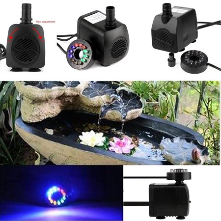Submersible Water Pump with 12 LED Light for Fountain Pool Garden Pond