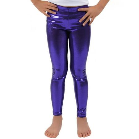 Girl's Metallic Mystique Leggings - Small (6) / Mystique Purple (Leggings Hot Girl)