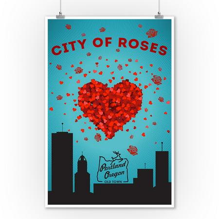 Portland, Oregon - I Love You City of Roses -  Lantern Press Artwork (9x12 Art Print, Wall Decor Travel Poster) - Robe City