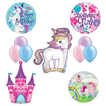 Girl Birthday Supplies (Unicorn Birthday Girl Party Supplies and Princess Castle Balloon)