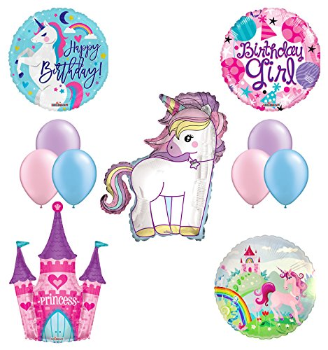 Unicorn Birthday Girl Party Supplies and Princess Castle Balloon Decorations