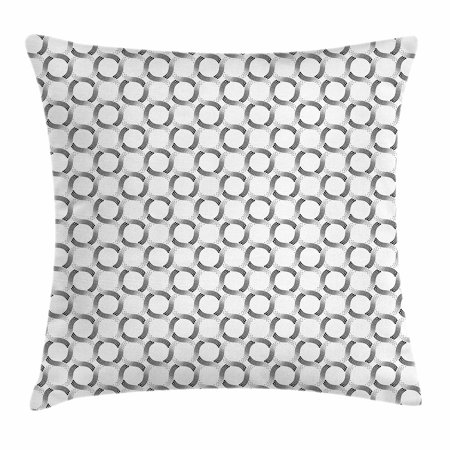 - Geometric Throw Pillow Cushion Cover, Little Dots and Spots Forming Curved Circles Minimalist Feminine Artful Print, Decorative Square Accent Pillow Case, 18 X 18 Inches, Black White, by Ambesonne