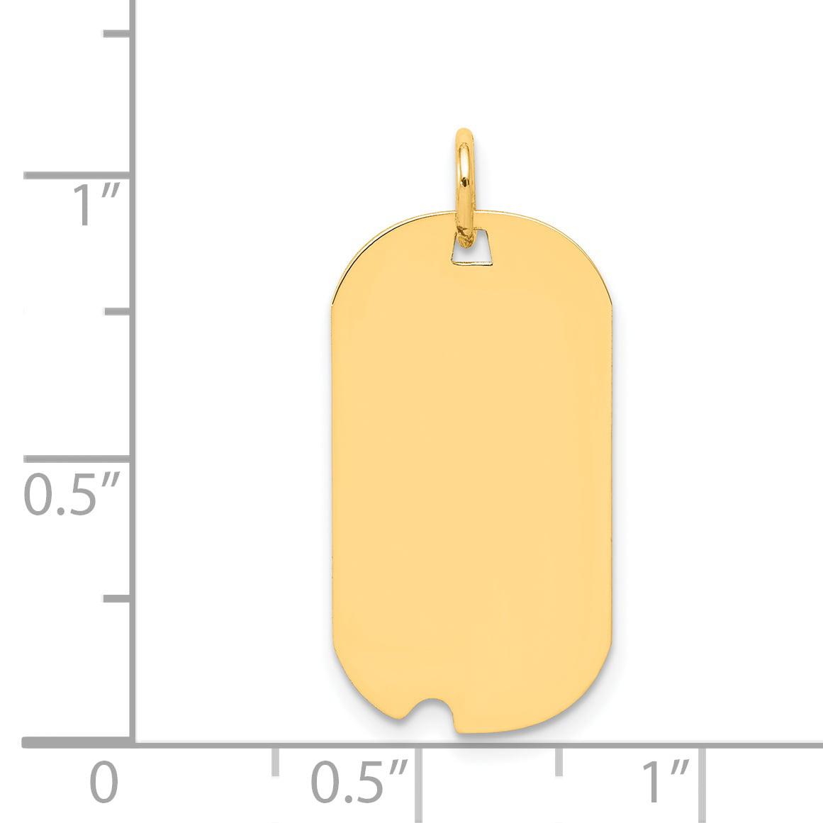 14K Yellow Gold Plain .013 Gauge Engravable Dog Tag w/Notch Disc Charm - image 1 of 2