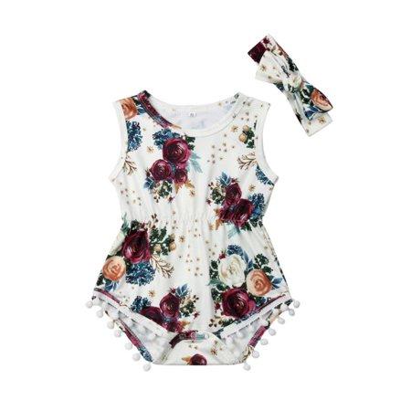 1f92662b8238 FUFUCAILLM - 0-24M Cute Newborn Baby Girl Sleeveless Floral Tassel Ball  Princess Romper Jumpsuit Headband 2PCS Outfits Summer Sunsuit Clothes -  Walmart.com
