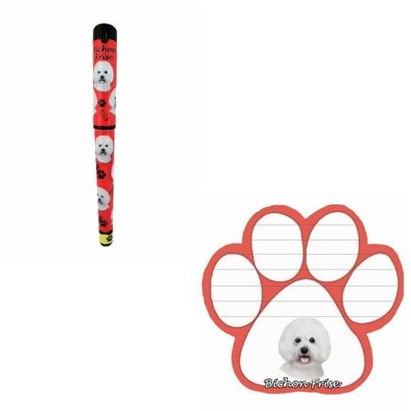 Bundle - 2 Items: Bichon Frise Dog Paw Magnetic Note Pad & Gel Pen