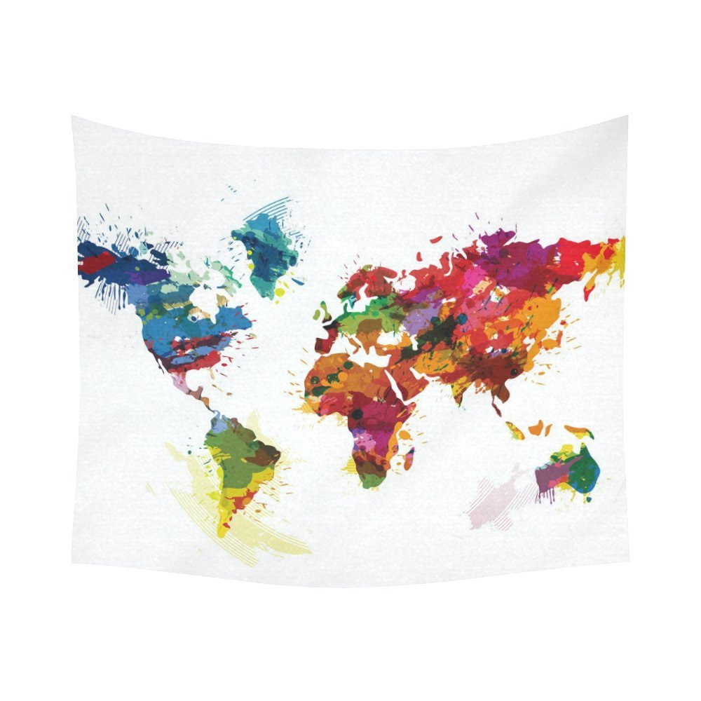 Gckg Watercolor Global Colorful World Map Tapestry Horizontal Wall