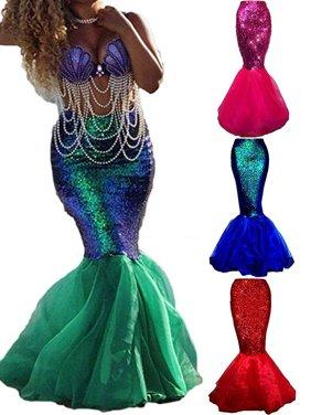 Women Dreamlike Adult Mermaid Tail Full Skirt Party Fancy Dress Cosplay Costume